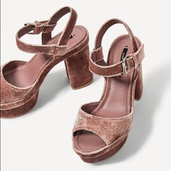 cb3b5bc9b8d Zara Pink Velvet Platform Block Heel NWT